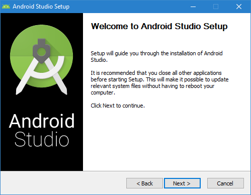 The Android Studio installer assistant