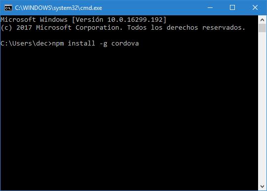 The Apache Cordova installing procedure