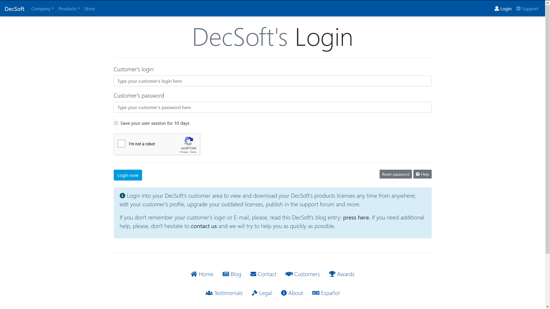 The DecSoft's reset customer's password form