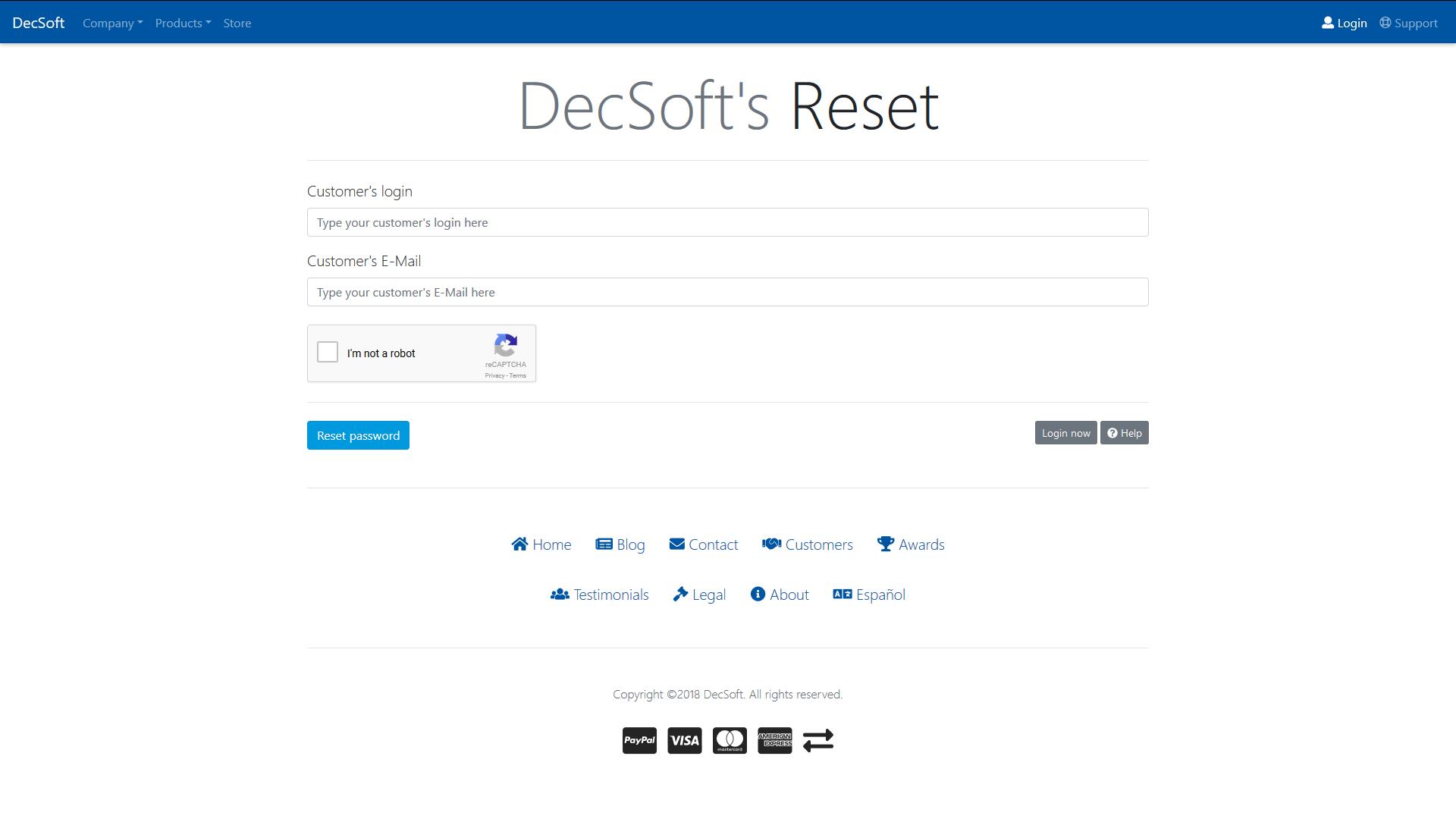 The DecSoft's customer's login form