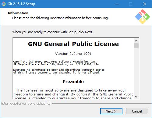 The Git installer assistant