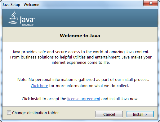 The Oracle Java installer assistant