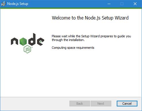 The Node.js installer assistant
