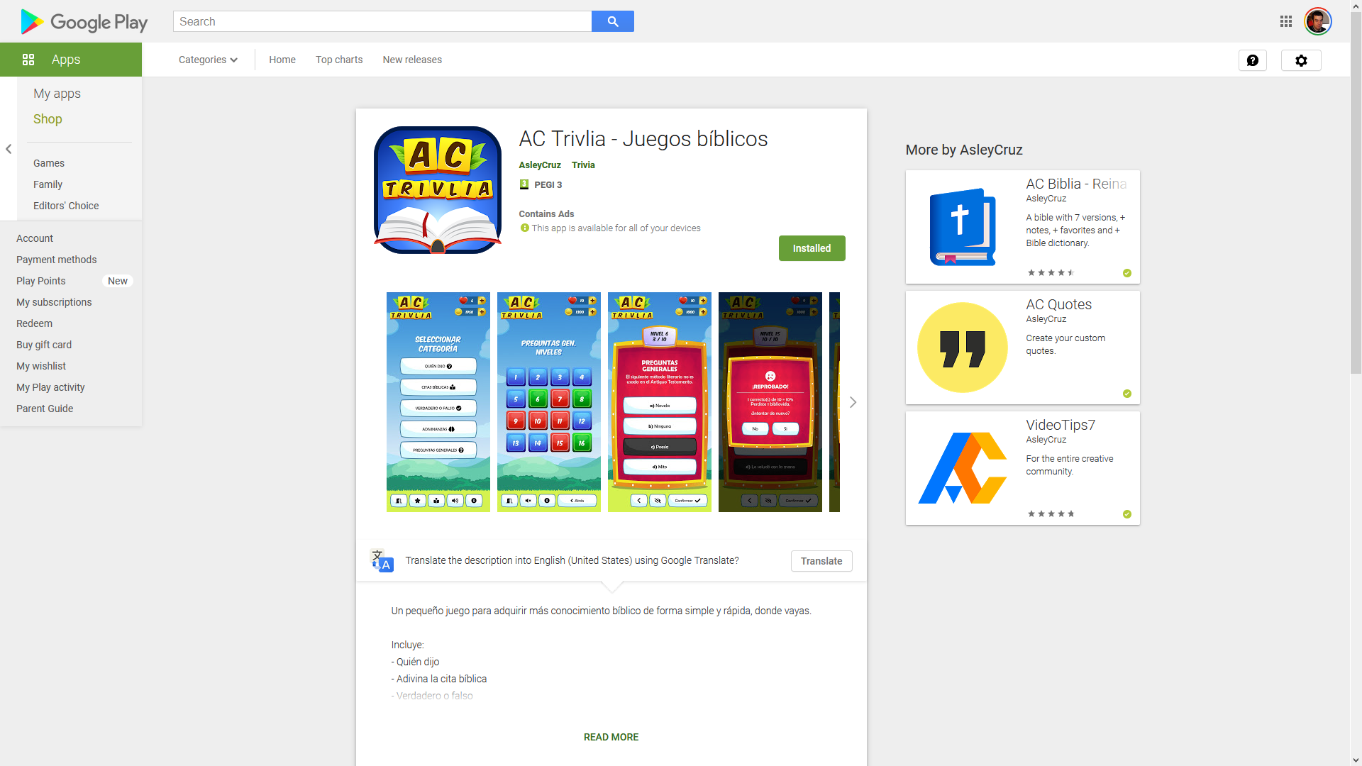 AC-Trivlia in the Google Play store